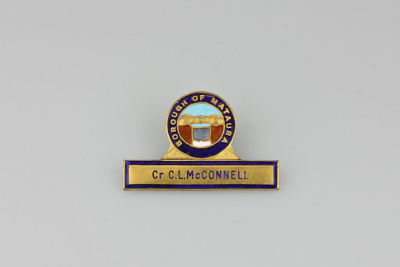 Badge, Mataura Borough Council [C.L. McConnell]; unknown maker; 1962; MT2016.3.2