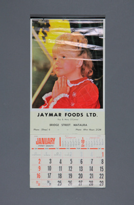 Calendar; a 1972 wall calendar for Jaymar Foods Lt...