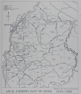 Map; a vellum map showing local Mataura farmers lo...