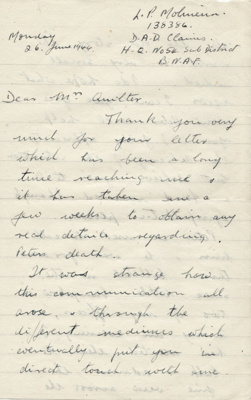 Letter; dated 26 June 1944 from Major L. P. Moline...