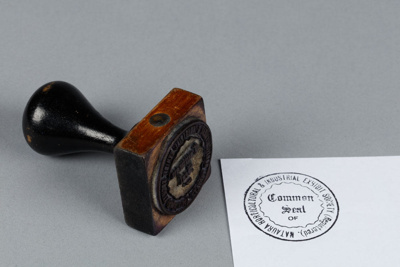 Stamp, rubber. Common seal of the Mataura Horticultural and Industrial Exhibit Society.; unknown maker; [?]; MT2018.1.33
