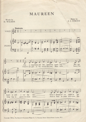 Music Score, 'Maureen'; 1936; MT2012.164.3
