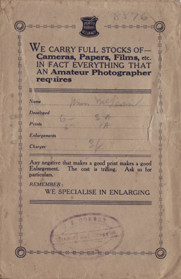 Photograph envelope, brown paper envelope used by ...