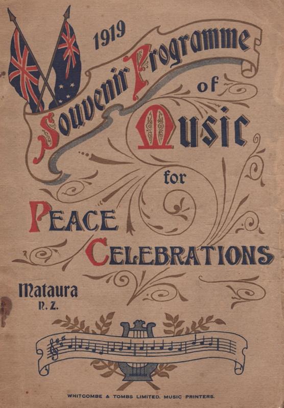 Souvenir Programme, 'Music for Peace Celebrations' - Mataura Museum