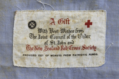 Bag; a blue draw-string cloth bag, with St. John/R...