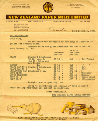 Letter; dated 23 December 1939 from New Zealand Pa...