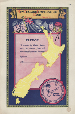 Certificate; Pledge, New Zealand Temperance Club, Junior Section; New Zealand Alliance for the Abolition of the Liquor Traffic; 1920-1930; MT2012.90.5