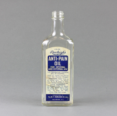 Bottle; Rawleigh's Anti-Pain Oil, donated to us by...