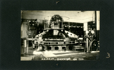A black and white photograph of the hydro electric...
