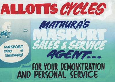 Advertising sign, Allotts Cycles; unknown maker; 1965-1975; MT2013.26.5
