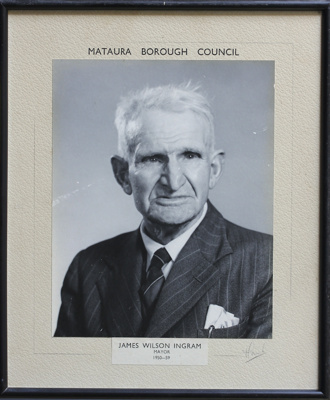 A framed black and white photograph of a Mataura B...