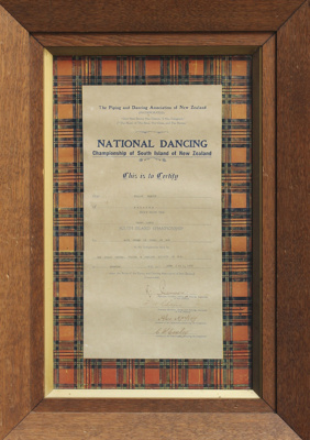 A certificate issued by The Piping and Dancing Ass...