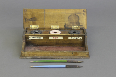 Inkstand; a three-ink compartmented and separately...