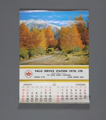 Calendar; a 1982 flip type wall calendar for Falls...