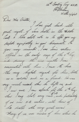 Letter; sympathy letter dated 2 April 1943 from Al...