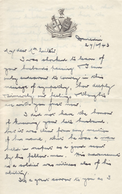 Letter; sympathy letter dated 27 February 1943 fro...