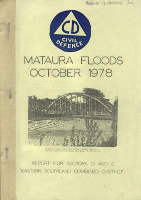 Book, Civil Defence Report on the 1978 Mataura Flood; Mataura Borough Council; 1978; MT2012.97.1