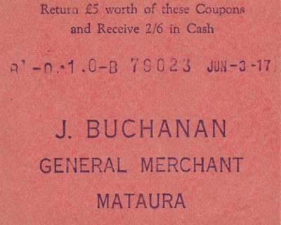 Coupon, a cash coupon for John Buchanan, General M...