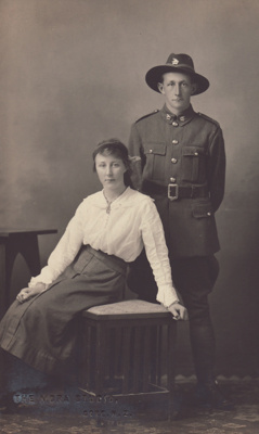 Postcard, Trooper John Taylor and Nan Taylor; Mora Studio, The (Gore); 1917; MT2015.11