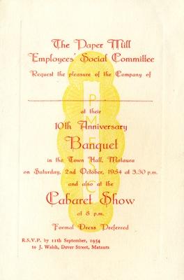 Invitation, Mataura Paper Mill Employees' Social Committee Banquet; Mataura Paper Mill Employees' Social Club; 1954; MT2017.21.22