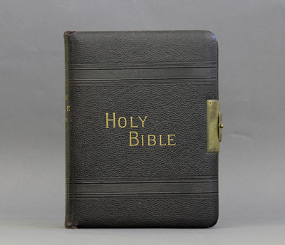 Bible; an illustrated Holy Bible with a brass hing...