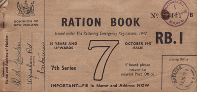 New Zealand Ration book, No. 11401, issued in Octo...
