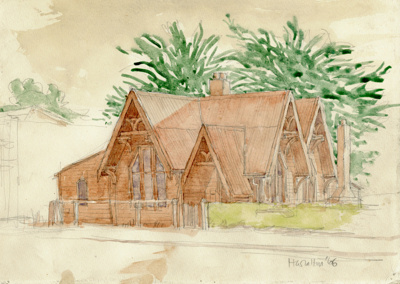 Artwork [Sketch of First Mataura Post Office]; Walton, H; 1966; MT2015.13