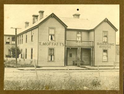 Black and white photograph of T. Moffatt's Boardin...