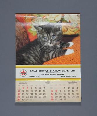 Calendar; a 1984 flip type wall calendar for Falls...