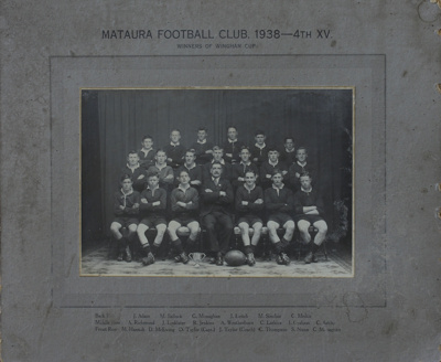 Photograph [Mataura Football Club, 4th XV, 1938]; unknown photographer; 1938; MT2011.185.480