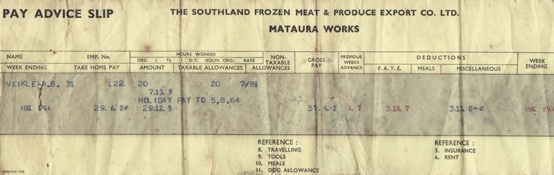 pay slip bert meikle mataura freezing works 1964