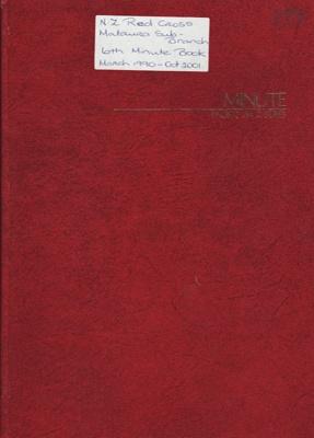 Minute Book, Red Cross, Mataura Sub-Branch; Club members (various); 1990-2001; MT2012.165.6