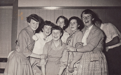Photograph [Six girls at a Dance in Mataura]; unknown photographer; 1955-1965; MT2017.13