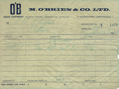Yellow Packing Slip from M. O'Brien & Co Limited d...