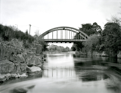 Black and white photograph of the Mataura Arch Bri...