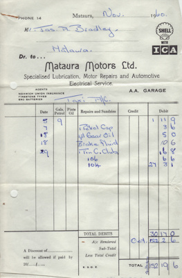 Invoice, Mataura Motors Ltd; Mataura Motors Ltd; 1960; MT2012.153.2