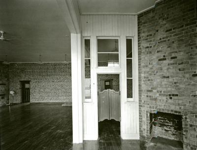 Black and white photograph inside Henry's Building...
