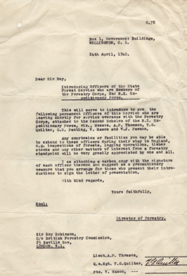Letter, Director of New Zealand Forestry, W.W.II; New Zealand Government; 24.04.1940; MT2015.20.9