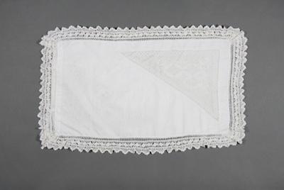 Pillow Sham; Rectangular white cotton sham with wh...