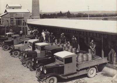 Photograph, 7 of 19, Mataura Dairy Factory Album [Farmers' Trucks]; unknown photographer; 1927; MT2012.139.7