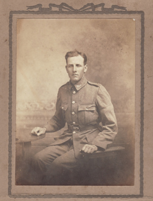A black and white photograph of Private James Craw...