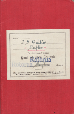 Bank Book, Forest Officer [Thomas George Quilter]; Bank of New Zealand; 1934-1940; MT2015.20.10.2