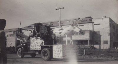 A black and white photograph of the Mataura Dairy ...