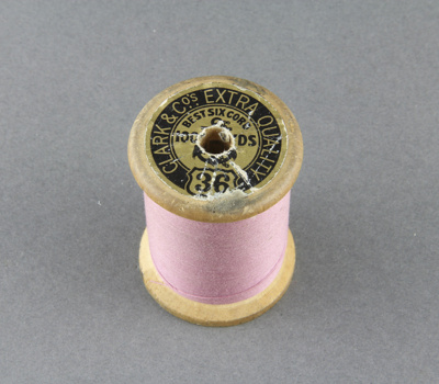 Sewing thread on spool, pink cotton; Clark & Co.; 1940-1950; MT2012.105.4