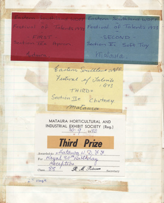Honours book; an honours book used by the Mataura ...