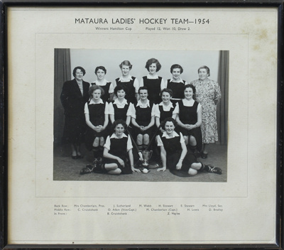 A black and white photograph of the Mataura Ladies...