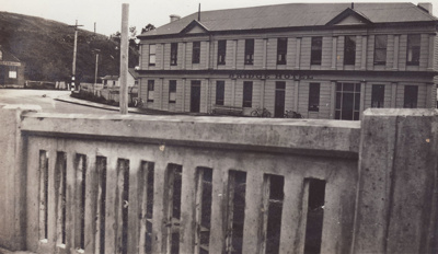 A black and white photograph of the Bridge Hotel i...