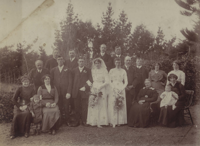 A black and white photograph showing the wedding p...