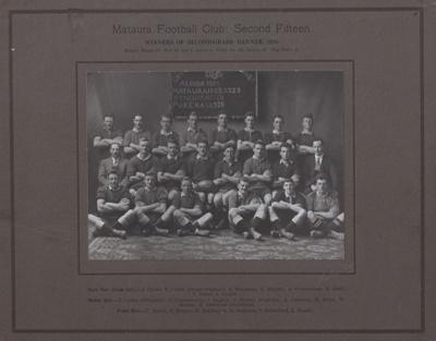 Photograph [Mataura Football Club, 2nd XV, 1929]; Mora Studio, The (Gore); 1929; MT2011.185.477.2