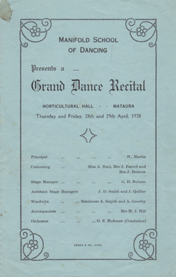 Programme; Grand Dance Recital by Manifold School ...